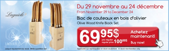 Laguiole, knife block, olive wood, promotion, discount, sale