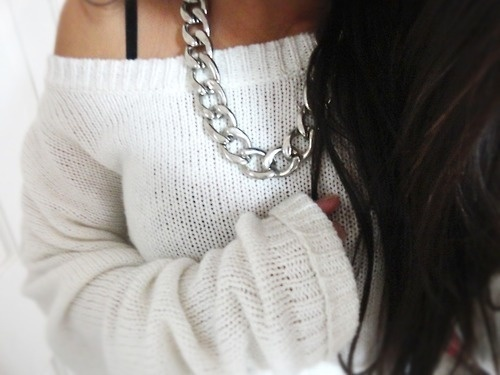 silver chain with sweater, style, fashion, chunky necklace, sterling silver