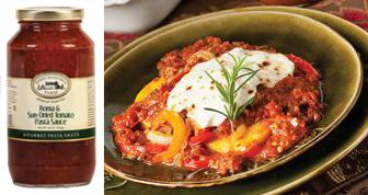 Baked Polenta with Sausage & Sun-Dried Tomato Sauce