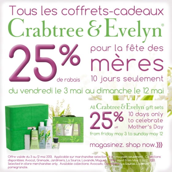 crabtree & evelyn sale, mother's day