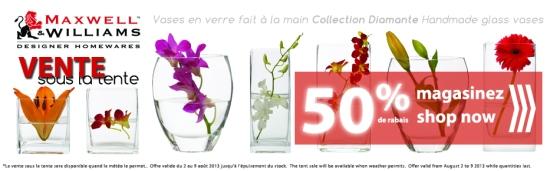 maxwell & williams vases, diamante vases, handmade glass vases