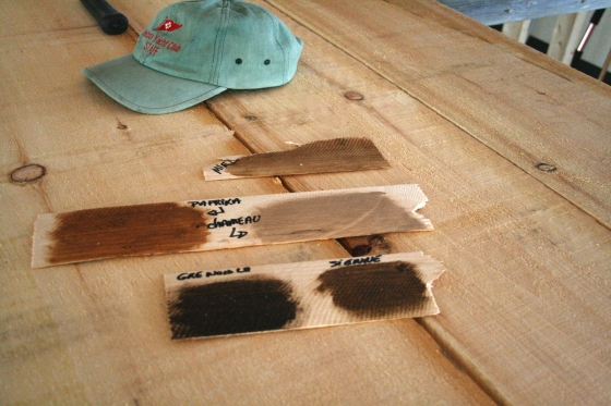Selecting wood stains.