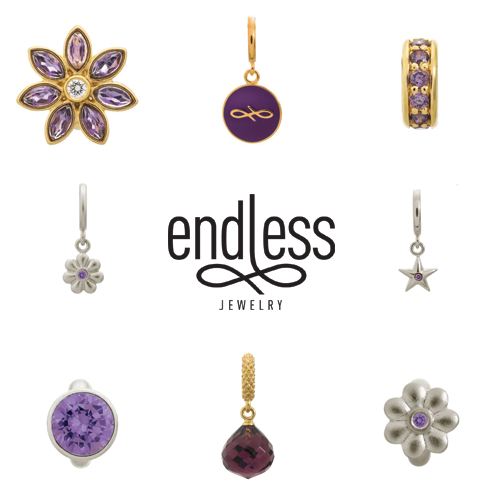 endless jewelry, endless charms, purple charms, amethyst charms, violet charms, jewelry vaudreuil, alena kirby