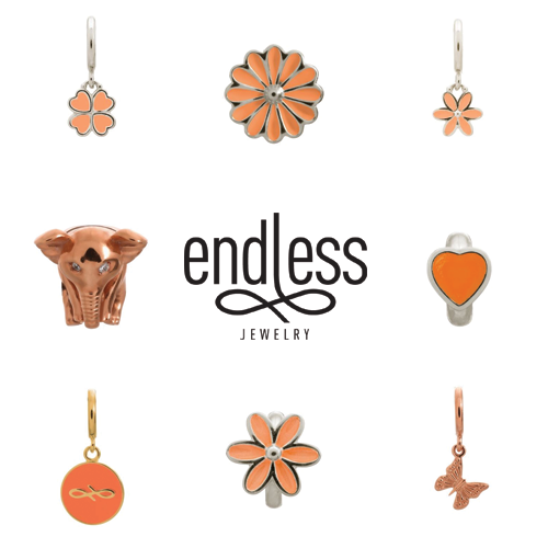 endless jewelry, orange charms, coral charms, alena kirby, vaudreuil jewelry
