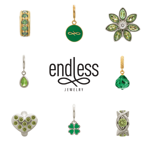 endless jewelry, green charms, emerald charms, peridot charms, alena kirby, jewelry vaudreuil