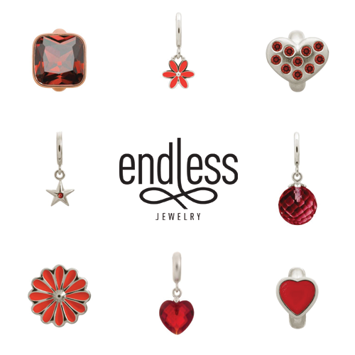 endless jewelry, red charms