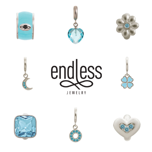 endless jewelry, blue charms, sky blue charms, alena kirby, charm bracelets, jewelry vaudreuil