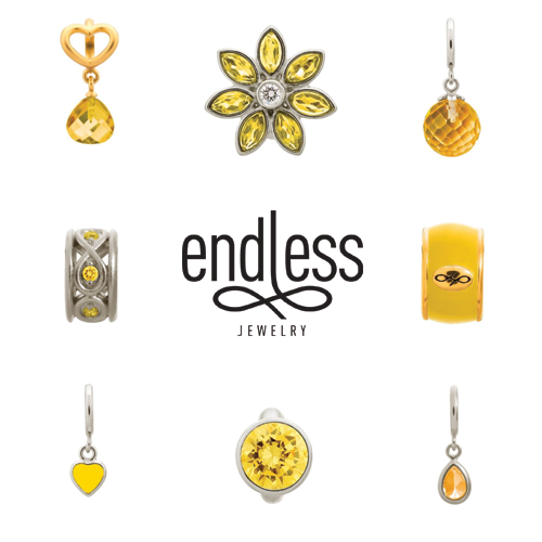 endless jewelry, yellow charms, citrine charms, vaudreuil jewelry