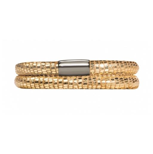 Endless Jewelry - JLO Collection - Double Wrap Leather Bracelet - Golden Reptile