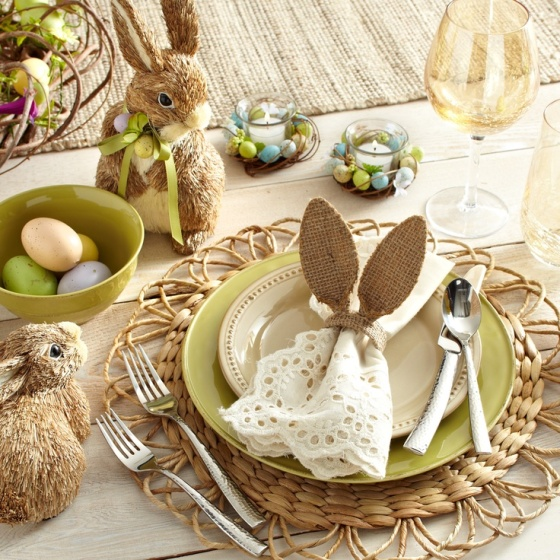Neutrals with a touch of green makes a subtle statement (so you can go crazy with the bunny ears).