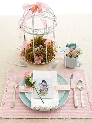Pretty pastels with bird cages is bright and feminine.